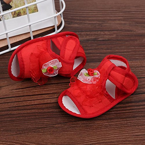 Igemy 1 Paar Neugeboren Infant Baby Girls Krippe Schuhe Soft Sole Anti-Rutsch Sneakers Blumen Sandalen Rot