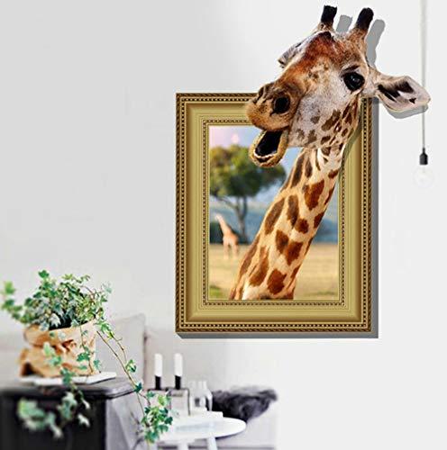 (ZBYLL Wall Sticker Giraffe 3D Bilderrahmen Aufkleber der kreativen Wand Aufkleber Kinderzimmer Dress up)