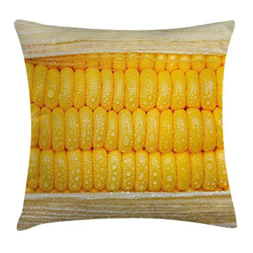 Health Throw Pillow Cushion Cover, Corn Cob Stem with Raindrops Water Marks Mexican Vegetable Photo Artwork Image, Decorative Square Accent Pillow Case, 18 X 18 Inches, Yellow and Cream -