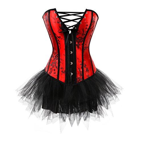 (Frauen Floral Korsett Bustier Top mit Mini-Tutu Rock für Moulin Rouge Showgirl Clubwear Plus Größe Red-S-Black)