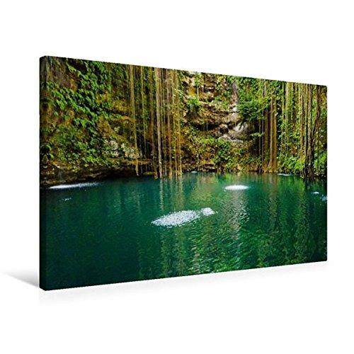 Calvendo Premium Textil-Leinwand 75 cm x 50 cm Quer, Ein geheimnisvoller türkisfarbener See im Tropischen Urwald der Halbinsel Yukatan | Wandbild, Bild auf Halbinsel Yukatan, Mexiko Orte Orte