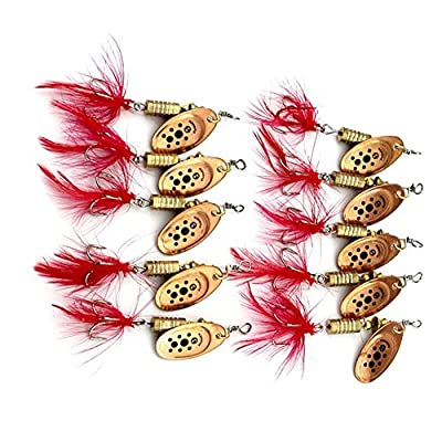 Yuneody 10x Spinner baits Feather Spoons Fishing Lure Metal/Feather Bait 8.4g 7cm 1# by Yuneody