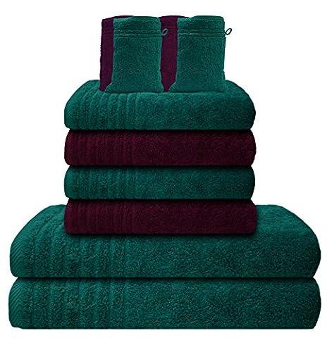 Gallant 10 tlg Frottier Handtücher Set 4 Handtücher 50x100 cm 2 Duschtücher Badetücher 70x140 cm 4 Waschhandschuhe Handtuch Badetuch-Duschtuch Waschhandschuh 100% Baumwolle Bad Frottee Handtuch-Set lila violett türkis