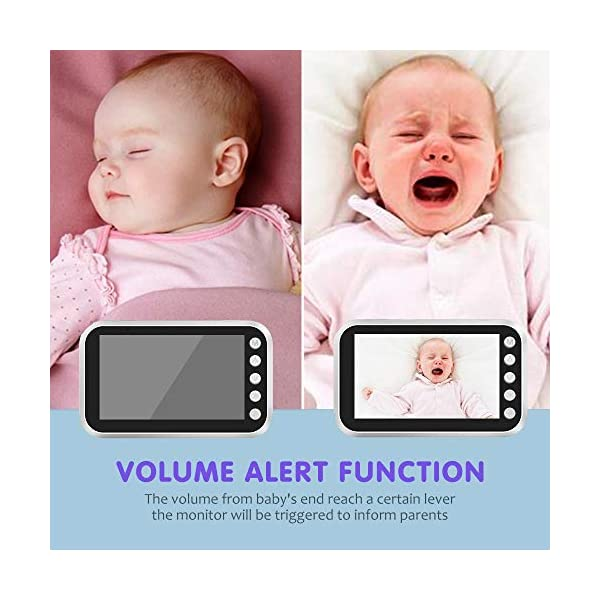 """Baby Monitor with Camera Video 4.3 Inch LCD Digital Screen 2.4Ghz Wireless Video Monitor for Night Vision Temperature Sensor 2-Way Talk Long Range 8 Lullabies Sound Activation Audio Baby Monitor  【4.3"""" LCD SCREEN Monitor】LCD display provides high definition view of your baby,with infrared night vision.Baby monitor offers the most vivid visual experience. 【Energy-Saving VOX Mode】Open the VOX function,the display screen automatically turns on when there's a voice in baby's room, and turn off when it gets silent for about 1 minute.You could focus on your things till the sound active the display.Use this mode the battery could last about 20 Hours. 【2.4GHz Wireless Connection Technology】No need to connect WIFI,needless of 3G/4G mobile data traffic,the 2.4GHz wireless technology provides 100% digital privacy and security,with range up to 1000ft in open space.Night vision is also supported. 4"""