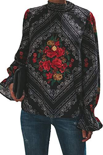 Betty-Boutique GOTISCHE ROTE Rosendruck-BLOCKIERTE Langarm-Bluse Größe 10-12