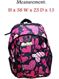 Backpack Print Rucksack Bag Girls Boys Hi-Tec Travel School Work College A4Bags (Hi-Tec 1395 Black/Pink)
