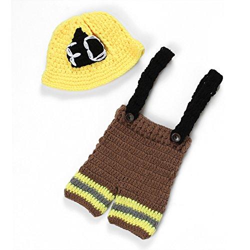 Kostüm Hat Feuerwehrmann - UGUAX Baby Fotografie Prop Crochet Strick Feuerwehrmann Feuerwehr Hat Hose Kostüm Outfit Style 2