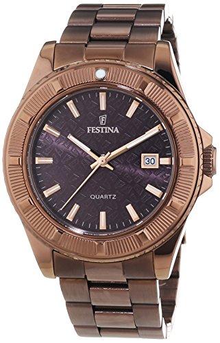 Festina - Reloj de cuarzo para mujer, correa de acero inoxidable chapado color marrón