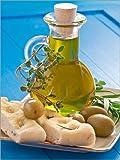 Posterlounge Forex-Platte 90 x 120 cm: Olivenöl mit Focaccia und grünen Oliven von Edith Albuschat