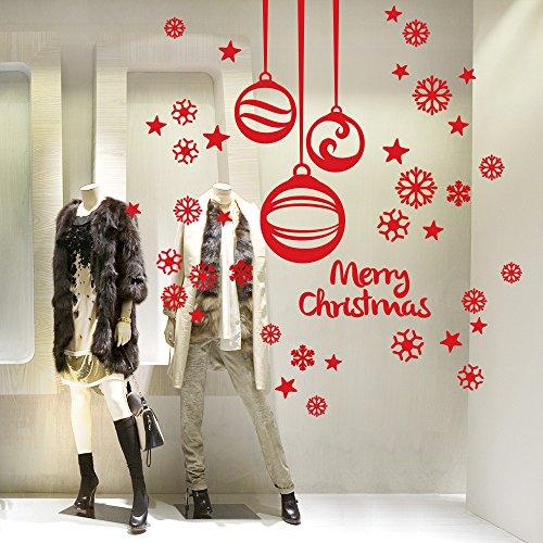 NT0186 Adesivi Murali - Pendenti con fiocchi di neve - Vetrofanie natalizie - 60x120 cm - Rosso - Decorazioni vetrine per Natale, stickers, adesivi