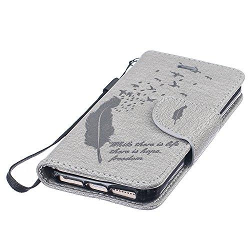 Feeltech Apple iPhone SE 5 5S Bookstyle Étui en Cuir Case à Rabat Magnétique Fermeture Coque de Protection avec Porte Carte et Stand, Ultra Slim Portefeuille Motif Case Cover pour Apple iPhone SE 5 5S Oiseaux Plumes-Gris