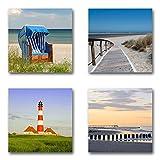 Ostsee Nordsee - Set B schwebend, 4-teiliges Bilder-Set je Teil 29x29cm, Seidenmatte moderne Optik auf Forex, UV-stabil, wasserfest, Kunstdruck für Büro, Wohnzimmer, XXL Deko Bild