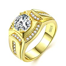 Men Rings 18K Gold Plated Wedding Jewelry Signet Band Ring with Cubic Zirconia Anniversary Promise Gift for He
