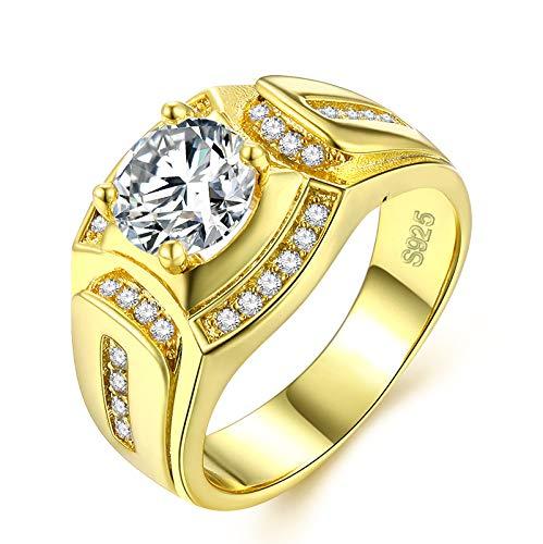 Gold Ringe Herren Männer Modeschmuck Verlobungsringe Hochzeit Siegelring Band Ring mit Vergoldet Jahrestag Versprechen Geschenk für Ehemann - Gold Herren Ring Versprechen