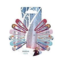 DISNEY La Reine des Neiges 2 Accessoires Coiffure Clic Clacs Pailletés Elsa/Anna/Olaf 12 Pièces