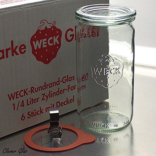 6 Weck Einkochgläser 340ml Zylinderglas RR60 mit Glasdeckel im Original Weck Karton (Mit Glasdeckel, Ringen und Klammern)