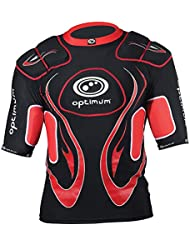 Optimum Inferno - Protecciones de hombros para rugby ( hombreras ), color negro / rojo (black/red), talla Large