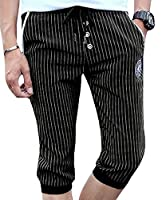 Tootlessly Men's Drawstring Comfort Soft Summer Cropped Casual-pants Black S