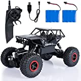 SGILE 1:14 RC Cars with Two Battery - 4WD 2.4Ghz 4x4 Crawlers Off-Road Vehicle For Kids Adults Hobby Toy, Black