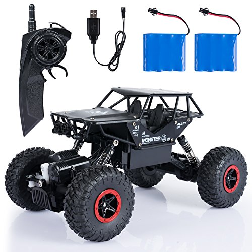 SGILE RC Coches con Dos baterías-4WD 2.4 GHz 4x4 Road Rock Vehículo Radio Control Remoto Camión Monster-Recargable Eléctrico Carrera Buggy para niños Adultos Hobby Toys, Negro, A-Crawler-1:14