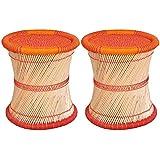 Virasat Furniture & Furnishing Single Cane Bar Bamboo Stool/Muddha For Outdoor/Indoor/Furnishing/Color: Multi