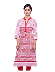Adesa Women's Cotton Self Print Regular Fit Kurti - B00VHSGZMG