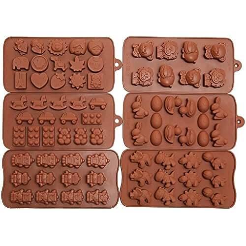 figuras kawaii porcelana fria Artes Efivs 6pcs Candy moldes, moldes Chocolate, moldes de silicona, jabón Moldes, silicona para horno molds-6pc valor de dinosaurio, caras felices, Robots, con figura de conejo, figuras, frutas, niños juguetes