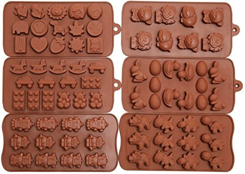 Efivs arts 6pcs di stampi per dolci, cioccolato stampi, stampi in silicone, sapone stampi, silicone baking molds-6pc value set- dinosauro, happy faces, robot, coniglietto, figure, frutta, giocattoli per bambini