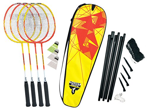 Talbot-Torro Premium Badminton-Set 4-Fighter, 4 Alu-Schläger leicht und handlich, 3 Federbälle, komplette Netzgarnitur, in wertiger Tasche, hochwertiges Federball Komplettset, 449508 -