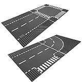 LEGO City 2-teiliges Platten Set 7280 7281 Gerade Straße / Kreuzung + Kurve / T-Kreuzung