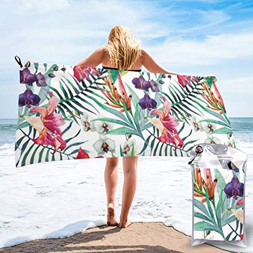 Watercolored Tropical Exotic Foliage Vibrant Color Palette Hawaiian Summer Season Beach Bath Towel Fast Drying Absorbent Towels for Camping, Backpacking, Gym, Sports, and Swimming 31.5