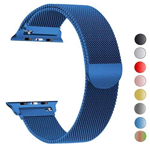 iBander Correas de Repuesto para Apple Watch Series 4/3/2/1 (Acero Inoxidable milanés, Incluye Cierre magnético)