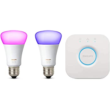 Philips Hue White and Color Ambiance Kit de Inicio 2 Bombillas y Puente E27, 9.5 W, Blanco (compatible con Amazon Alexa, Apple HomeKit y Google Assistant)