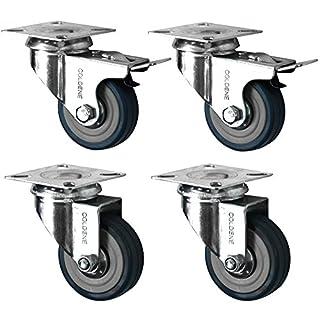Coldene Castors Ltd 4 Swivel Heavy Duty GREY RUBBER 50mm (2 inch) Castor/Caster Wheels (2 x standard, 2 x brake), Load capacity 40kg per wheel