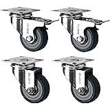 4 Swivel Heavy Duty GREY RUBBER 50mm (2 inch) Castor / Caster Wheels (2 x standard, 2 x brake), Load capacity 40kg per wheel by Coldene Castors