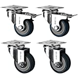 4 Swivel Heavy Duty GREY RUBBER 50mm (2 inch) Castor/Caster Wheels (2 x standard, 2 x brake), Load capacity 40kg per wheel