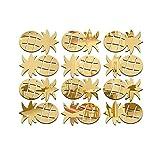 dragonaur 12Pcs/Set Cute Pineapple Acrylic Mirror Wall Stickers Decal Room Decor size Medium (Golden)