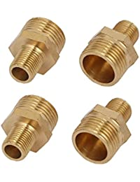 Tradico® 3/8BSPx1/8BSP Male Thread Brass Hex Nipples Pipe Fittings Connectors 4pcs