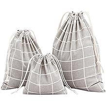 gespout 3pieza Natural yute Bolsa Bolsa de tela bolsa algodón Lino bolsas bolsitas de regalo para joyas de lavanda Regalos Fiesta Cumpleaños bolsillos