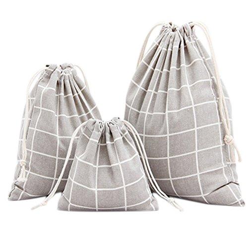 3 Stück Raster (WeiMay Aufbewahrungs tasche Gestreiftes Raster Baumwoll Leinen Kordelzug Lagerung Tasche Süßigkeit Geschenke Handtasche 3 Stück size S/M/L (Grau))