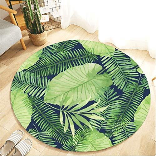Scrolor Runde Matte Wohnzimmer Teppich Wasserabsorbierend für Badezimmer Schlafzimmer Bodendekoration Großflächige Teppiche Flanell Teppich Tropische Pflanze Muster