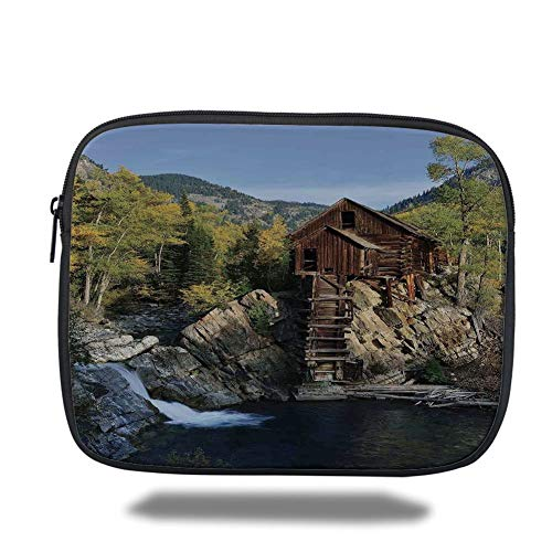 Laptop Sleeve Case,Landscape,Secluded Wooden Cabin in Woods River Waterfall Forest Mill Mountain Pine Trees,Multicolor,Tablet Bag for Ipad air 2/3/4/mini 9.7 inch -