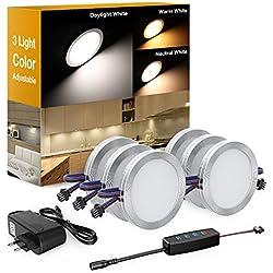 Onforu Lot 6 Lampe LED sous meuble 12W Blanc Chaud/Neutre/Froid 1080LM 12V Réglable 10 Niveaux Luminosité avec Interrupteur, Spot de Placard Encastrable pour Cuisine Cabinet Etagère Vitrine