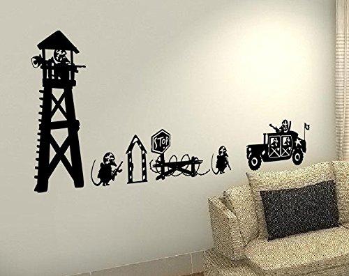 Militär Des Herzens (XXL GIANT Maus Militär Armee Krieg tank Kinder Hobby Herz Life Family Love House zusammen Zitate Wand Vinyl Aufkleber Aufkleber Art Decor DIY)