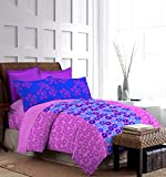 Bombay Dyeing Foliage 130 TC Polycotton Double Bedsheet with 2 Pillow Covers - Blue