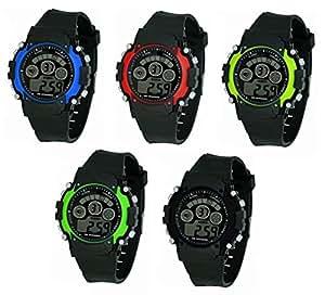 Om Designer Sports Multicolor Digital Watch for Boys & Kids (Pack of 5)(7 Light)