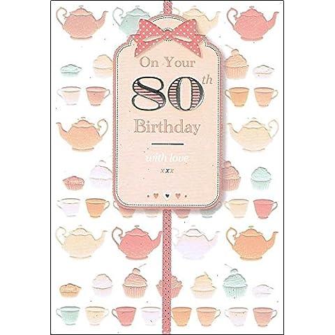 Edad de oro 80 hembra Tarjeta de cumpleaños Peach Glitter rosas y mariposas 19,05 cm x 13,97 cm NC 208Q
