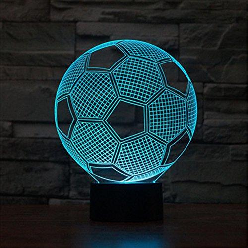 Weihnachten Valentinstag Hochzeit und Geburtstag Geschenke 3D-Tabelle Touch Lampe 7 bunte Farbe ändern Nachtlicht für Kinder und Jugendliche Fußball