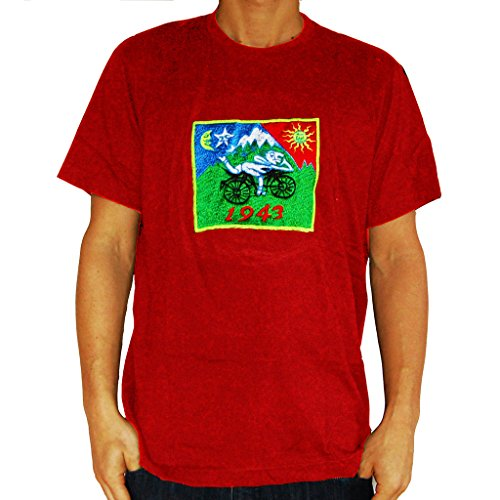 ImZauberwald LSD original Bicycle Day T-Shirt (Schwarzlicht aktiv) Albert Hofmann Goa Shirt Psychedelic Acid Design RE-M (Rem-shirt)