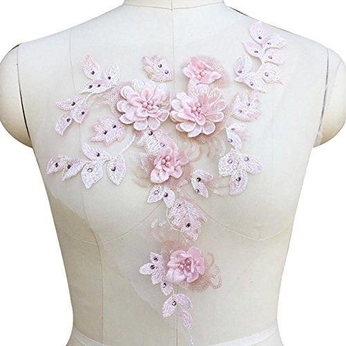 Stickerei Spitze Blumen Appliques DIY Bestickt Patch Perle heiß Bohren Spitze Dekoration für...